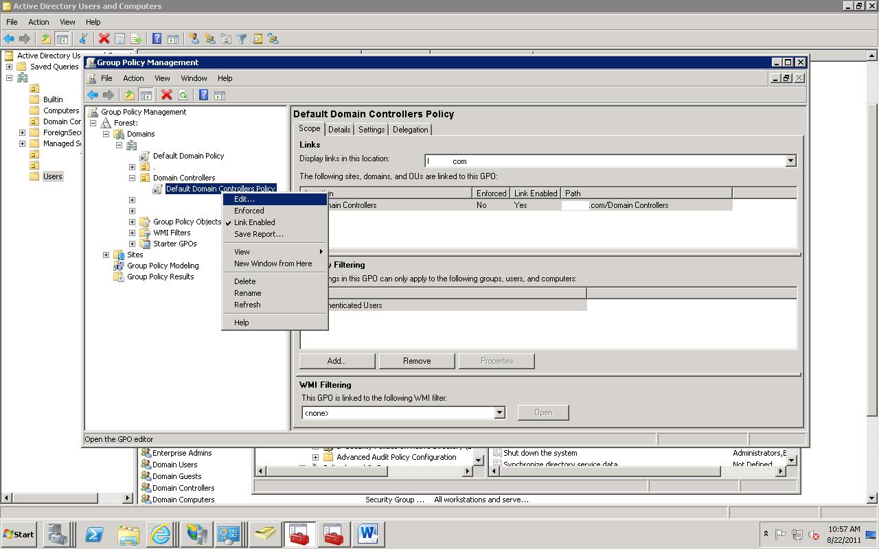 user rights assignment server 2008